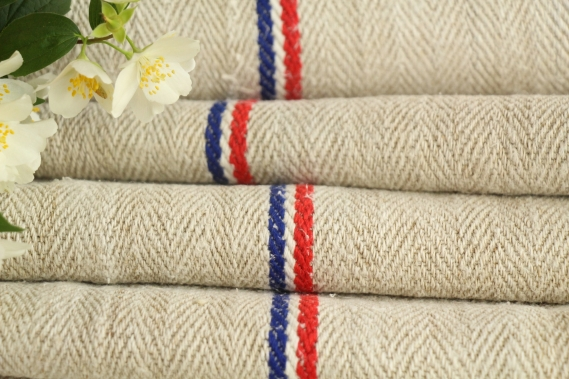 TW 584 antique french linen roll tricolore stripes 5.24y washed