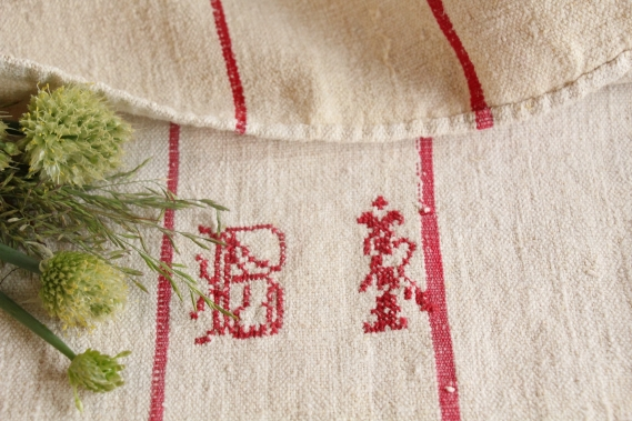 antique french linen grainsack grain sack christmas gift IX 113