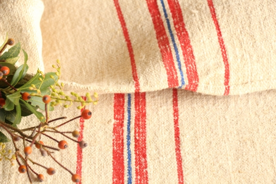 antique french linen grainsack grain sack birthday present IX 744