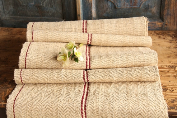 antique french linen Roll S 13 red