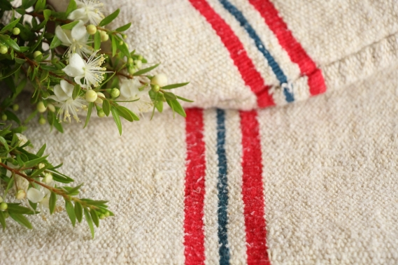 antique french linen grain sack grainsack blue and red stripes IX 181