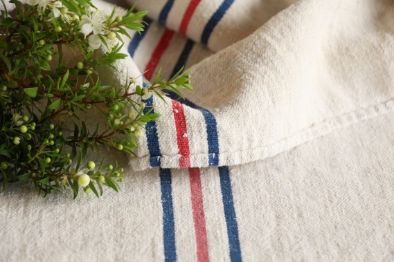 antique french linen grain sack grainsack blue and red stripes IX 177
