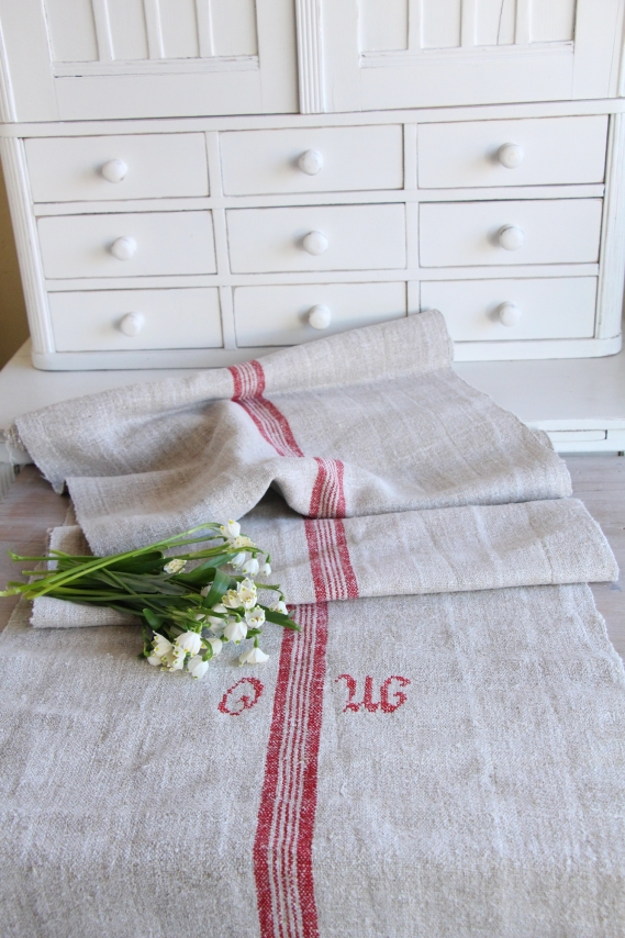 handmade antique linen table runner festive table D 973