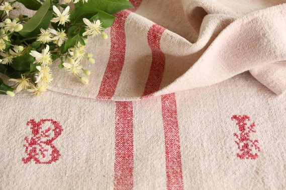 antique french linen grainsack grain sack christmas gift IP 324