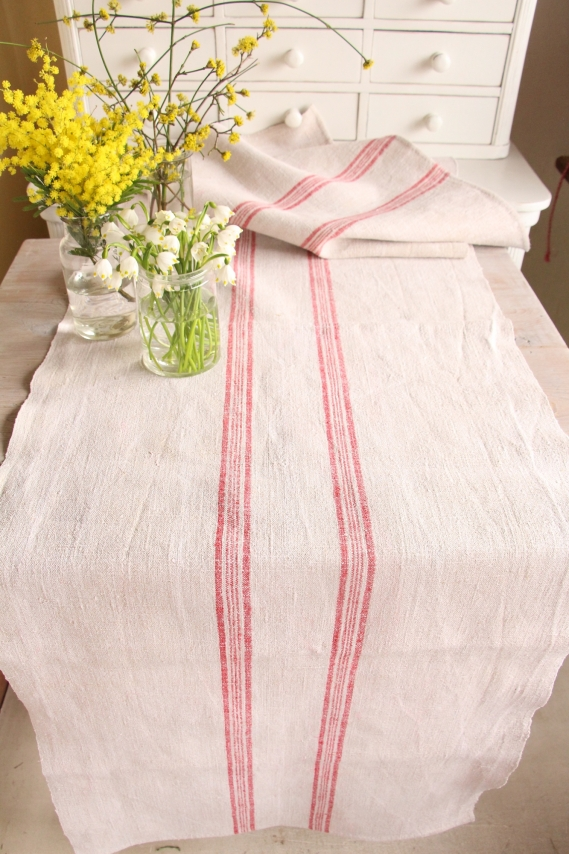 handmade antique linen table runner festive table A 002 A