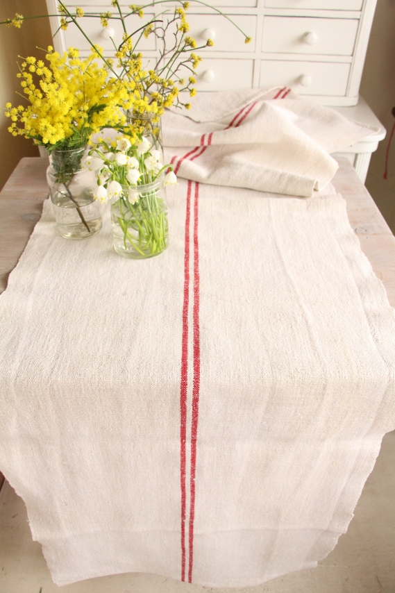 handmade antique linen table runner festive table D 997