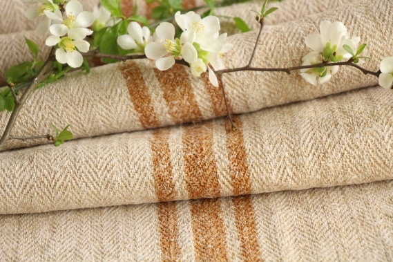 antique french linen roll 6.56y sewing upholstery caramel stripes TW 913