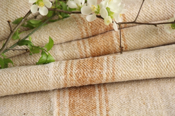 antique french linen roll 4.81y sewing upholstery caramel stripes TW 914