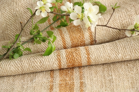 antique french linen roll 4.37y sewing upholstery caramel stripes TW 917