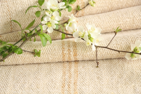 antique french linen roll 4.59y sewing upholstery caramel stripes TW 915