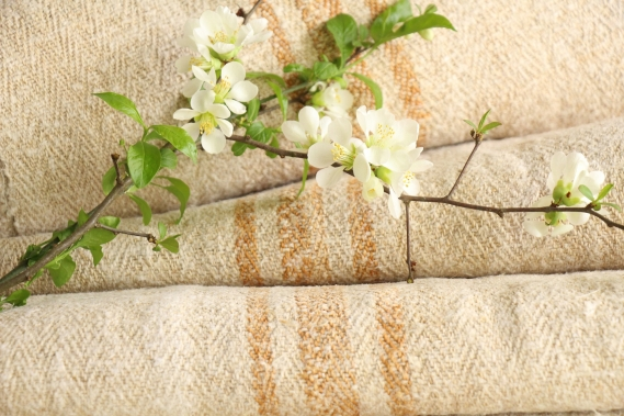 antique french linen roll 9.51y sewing upholstery caramel stripes TW 920