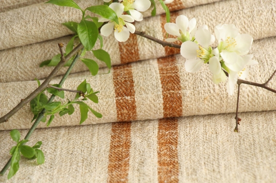 antique french linen roll 4.70y sewing upholstery caramel stripes TW 919