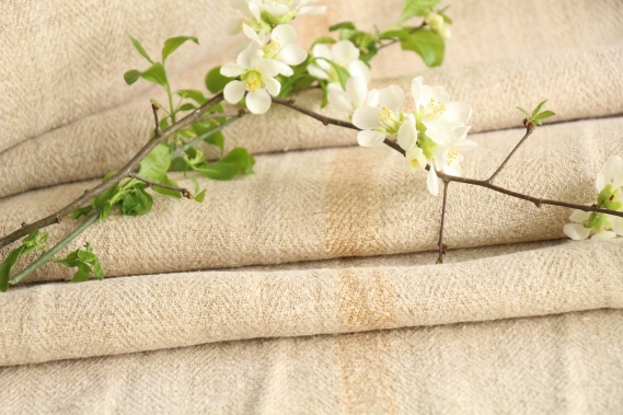 antique french linen roll 3.28y sewing upholstery caramel stripes TW 912