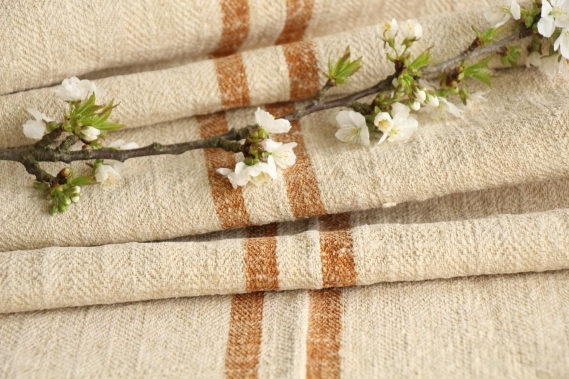 antique french linen roll 4.70y sewing upholstery caramel stripes TW 948