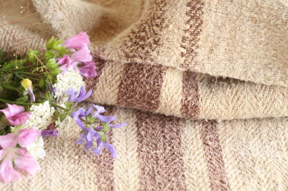 antique french linen grainsack grain sack chocolate brown wedding present IX 473