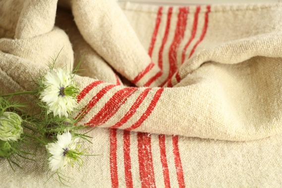 antique french linen grainsack grain sack christmas present IX 523