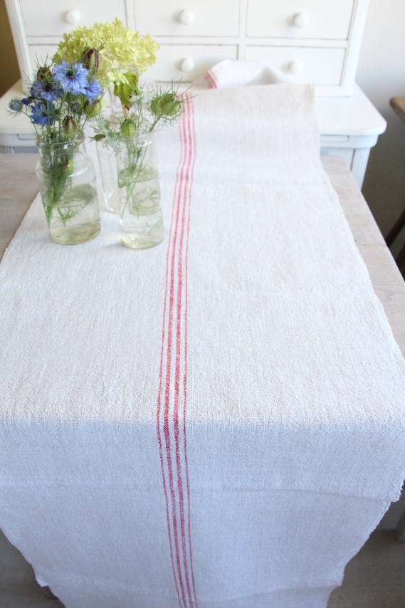 handmade antique linen table runner festive table D 861