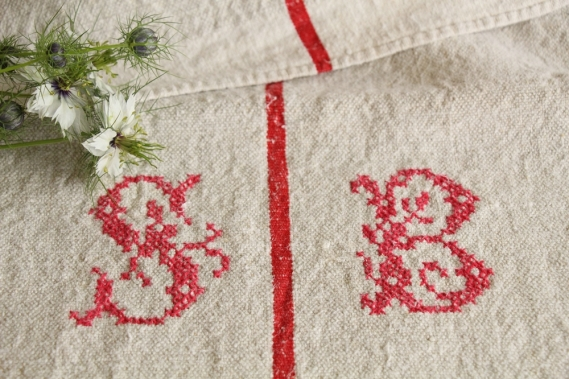 antique french linen grainsack grain sack christmas present IX 574