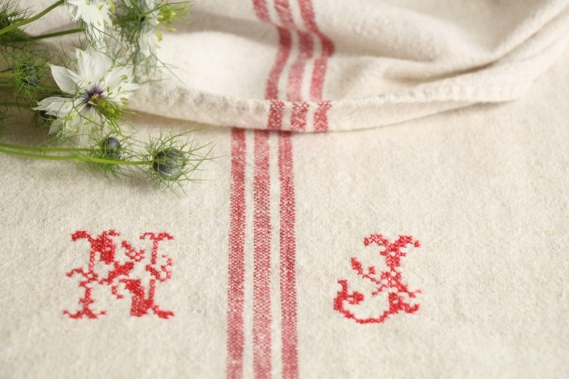 antique french linen grainsack grain sack christmas present IX 573