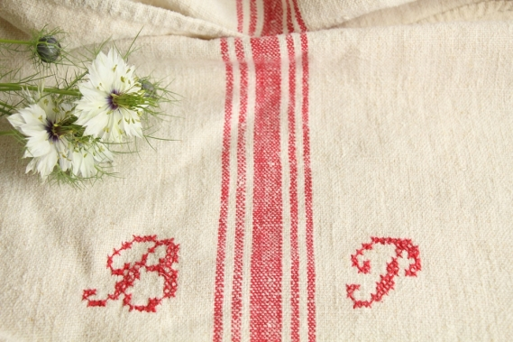 antique french linen grainsack grain sack christmas present IX 572