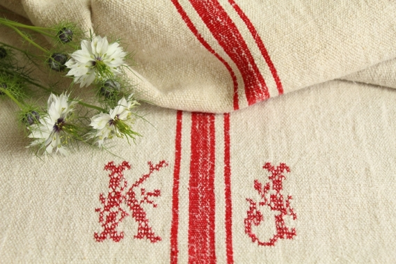 antique french linen grainsack grain sack christmas present IX 570
