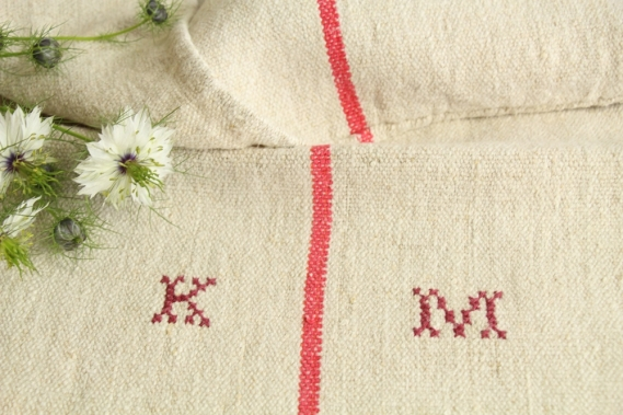 antique french linen grainsack grain sack christmas present IX 569