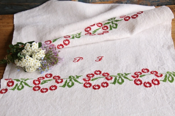 antique charming linen Towel D 491 gogmul jalu