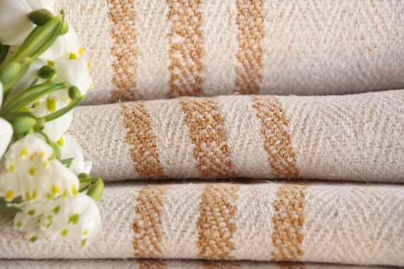 TW 558 antique linen roll natural creamy caramel stripes washed