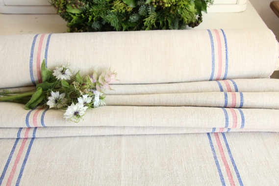 antique french linen roll 12.02y wedding table linen TW 826
