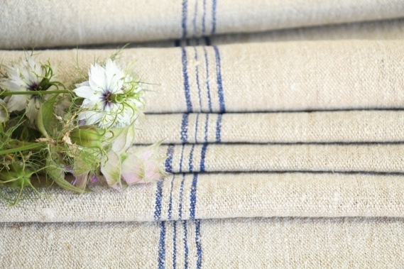antique french linen roll 13.88y wedding table linen TW 797