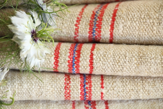 antique french linen roll 4.48y christmas table linen TW 811