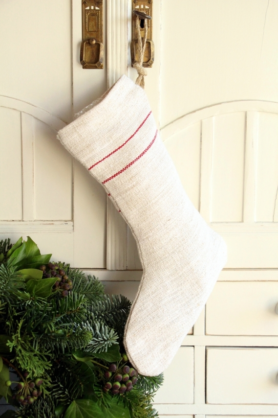 handmade french linen christmas Stocking D 890
