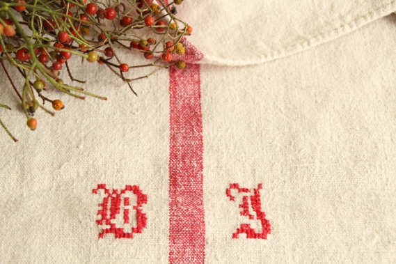antique french linen grainsack grain sack christmas gift IX 648