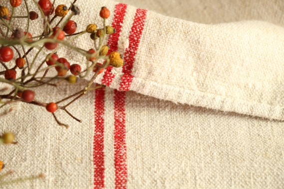 antique french linen grainsack grain sack christmas gift IX 647