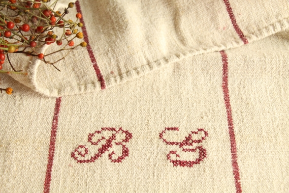 antique french linen grainsack grain sack christmas gift IX 646