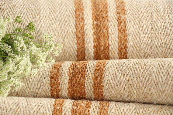 TP 602 antique french linen roll caramel stripes 4.48y